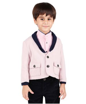 One Friday Solid Full Sleeves Jacket - Pink