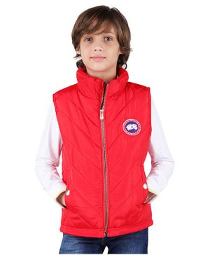One Friday Patch Work Sleeveless Jacket - Red