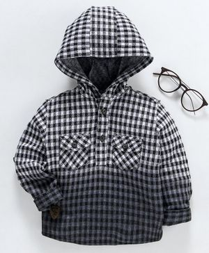 Trendy Cart Checked Full Sleeves Hooded Shirt - Black & White