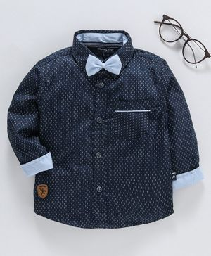 Trendy Cart Printed Full Sleeves Bow Attached Shirt - Navy Blue