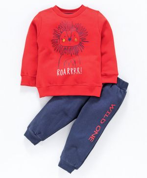 Zero Full Sleeves Tee with Lounge Pant Lion Print - Red Navy