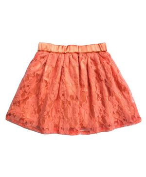 Campana Embroidered Lace Netted Elasticated Skirt - Peach