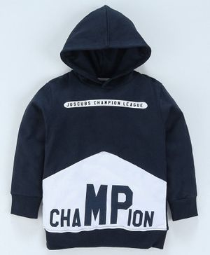 Jus Cubs Champion Printed Full Sleeves Hoodie - Navy Blue