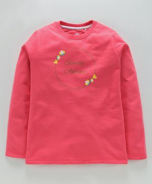 Jus Cubs Silently Autumn Print Full Sleeves Tee - Pink