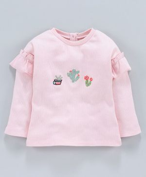 Jus Cubs Full Sleeves Cactus Embroidered Top - Pink