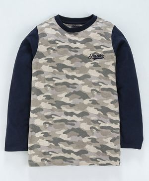 Jus Cubs Full Sleeves Camouflage Pattern Tee - Grey