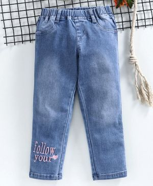 Babyhug Full Length Pull Up Denim Jeans Text Embroidery - Light Blue