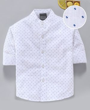 Rikidoos All Over Printed Full Sleeves Shirt - White