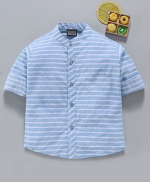 Rikidoos Striped Full Sleeves Shirt - Light Blue