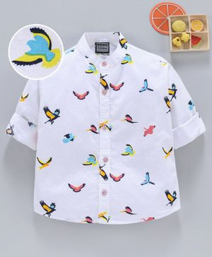 Rikidoos All Over Bird Printed Full Sleeves Shirt - White
