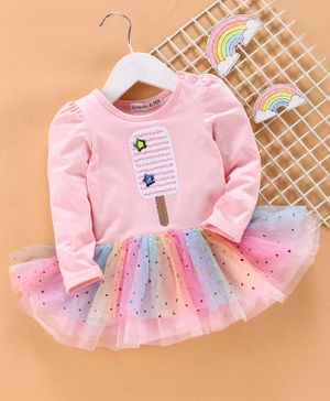 Mark & Mia Full Sleeves Frock Style Onesie Sequin Popsicle Design - Light Pink