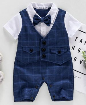 Mark & Mia Half Sleeves Party Wear Buffalo Checks Romper With Bow - Navy Blue