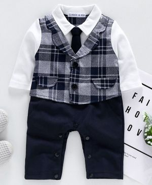 Mark & Mia Full Sleeves Romper Checked - Navy Blue