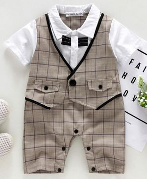 Mark & Mia Half Sleeves Party Wear Checked Romper - Beige