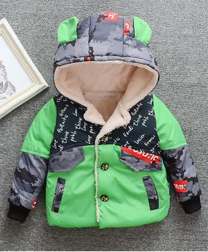 Pre Order - Awabox Letter Printed Full Sleeves Hooded Jacket - Green