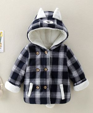 Pre Order - Awabox Checkered Full Sleeves Hooded Jacket - Dark Blue