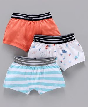 Babyoye Cotton Boxers Solid Color Striped & Printed Pack of 3 - Coral White Blue