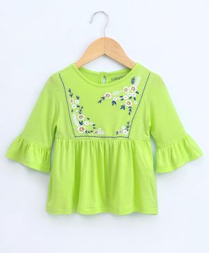 Babyoye Three Fourth Sleeves Cotton Top Floral Print - Green