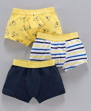 Babyoye Cotton Trunks Solid Color Striped & Printed Pack of 3 - Yellow Blue