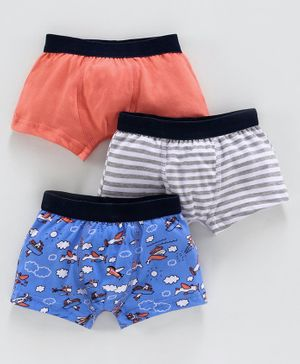 Babyoye Cotton Trunks Solid Color Striped & Printed Pack of 3 - Coral  Blue