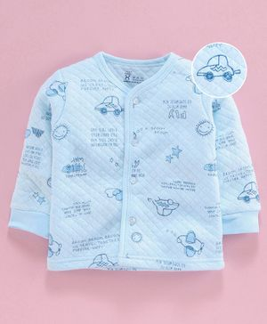 Pink Rabbit Full Sleeves Thermal Vest Car Print - Blue