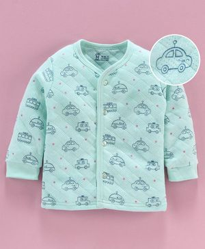 Pink Rabbit Full Sleeves Thermal Vest Car Print - Green
