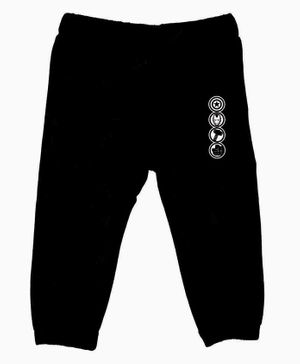 Marvel By Crossroads Avengers Characters Logo Print Full Length Elasticated Pants - Black