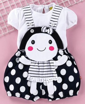 Wow Clothes Dungaree With Tee Polka Dot Print - Navy
