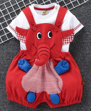 Wow Clothes Dungaree With Half Sleeves T-Shirt Elephant Design - Red