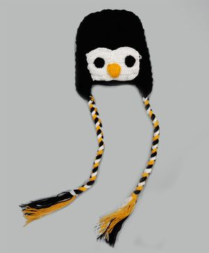 Knitting By Love Penguin Face Design Hand Knitted Cap - Black