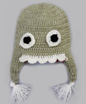 Knitting By Love Monster Face Hand Knitted Cap - Green