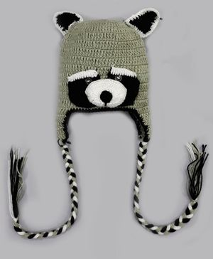 Knitting By Love Panda Face Hand Knitted Cap - Green