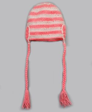 Knitting By Love Heart Shape Detailing Striped Cap - Pink