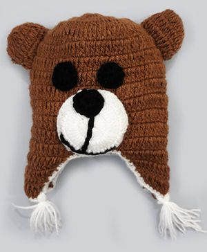 Knitting By Love Bear Face Design Hand Knitted Cap - Brown