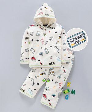 Ollypop Full Sleeves Hooded Tee & Lounge Pants Set Multi Print - Off White