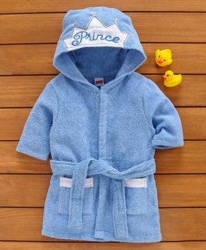 Babyhug Hooded Bathrobe Prince Embroidery - Blue