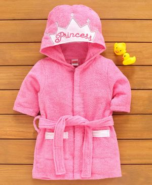 Babyhug Hooded Bathrobe Princess Embroidery - Pink