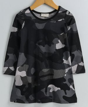 CrayonFlakes Camouflage Print Full Sleeves Dress - Grey
