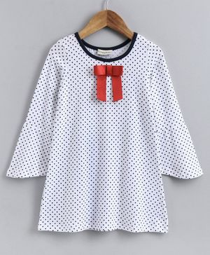 CrayonFlakes Polka Dots Print Full Sleeves Dress - White