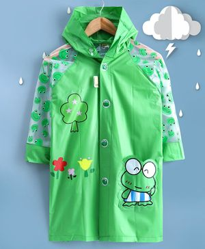 Kookie Kids Full Sleeves Hooded Raincoat with Attached Pouch Frog Print - Green