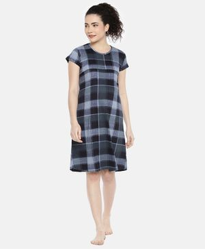 Goldstroms Checked Short Sleeves Maternity & Feeding Nighty - Blue