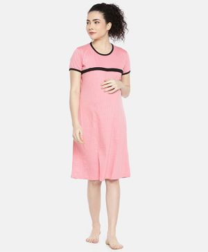 Goldstroms Printed Half Sleeves Maternity & Feeding Nighty - Pink