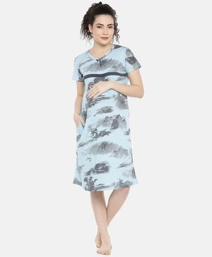 Goldstroms Abstract Print Half Sleeves Maternity & Feeding Nighty - Sea Green