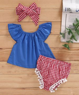 Kookie Kids Off Shoulder Solid top & Checked Bloomers Shorts - Blue Red