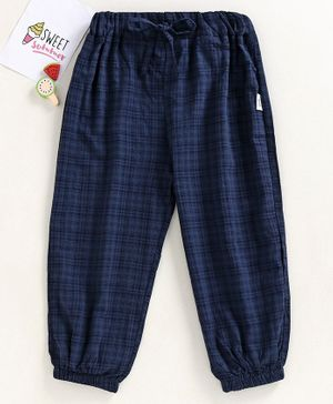 Kookie Kids Full Length Checks Lounge Pant - Navy Blue