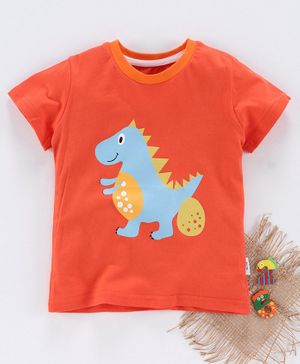 Kookie Kids Half Sleeves Tee Dino Print - Orange