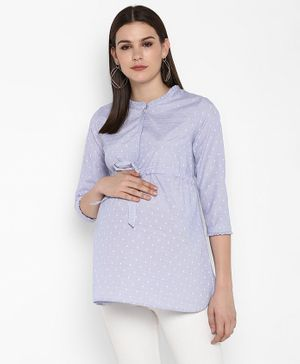Momsoon Polka Dot Printed Full Sleeves Shirt Style Top - Blue & White