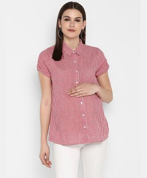 Momsoon Checkered Half Sleeves Maternity Shirt - Red & White