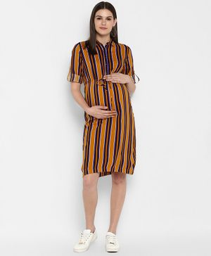 Momsoon Striped Three Fourth Sleeves Maternity Dress - Multicolor