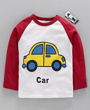 Kookie Kids Full Sleeves Tee Car Print - Red
